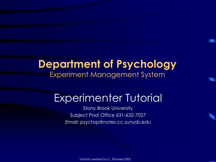 department of psychology experiment management system n.