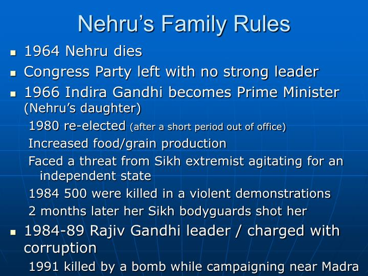 Nehru's Family Rules