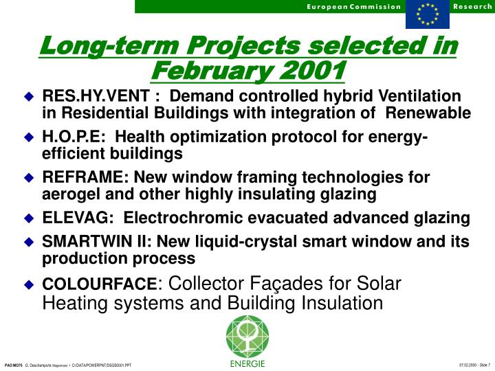 Long-term Projects selected in February 2001