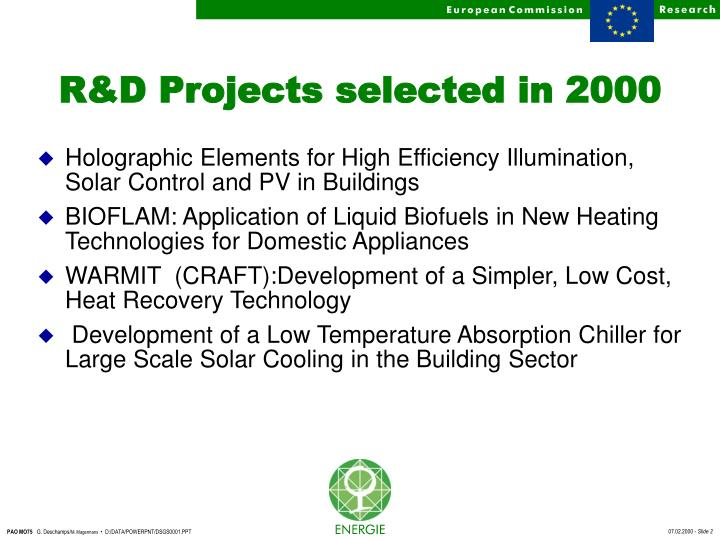 R d projects selected in 2000