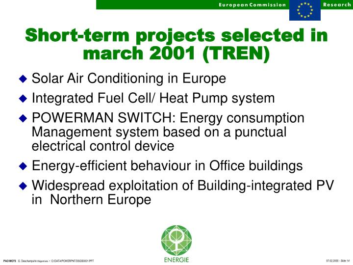 Short-term projects selected in march 2001 (TREN)