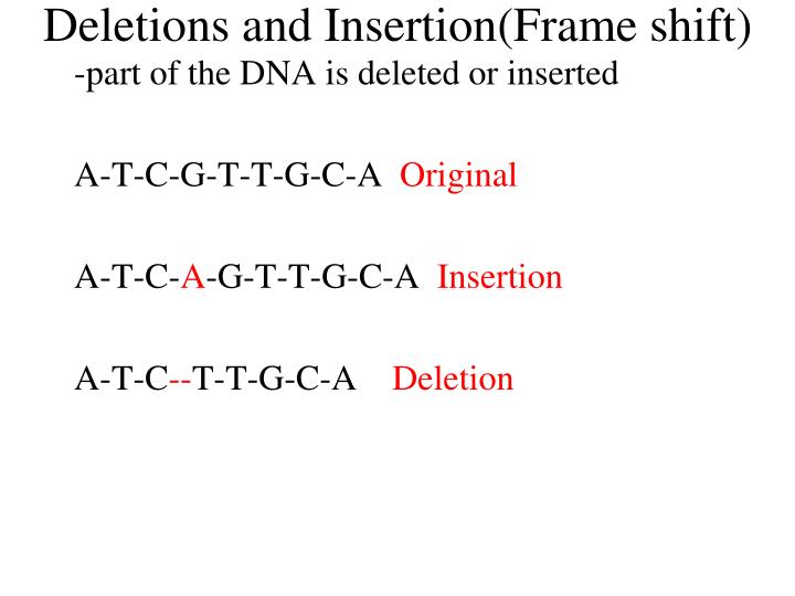 Deletions and Insertion(Frame shift)