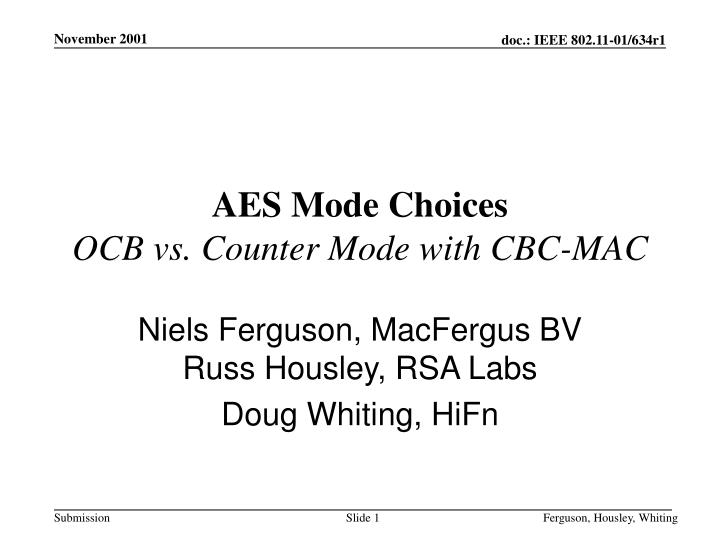 aes mode choices ocb vs counter mode with cbc mac n.