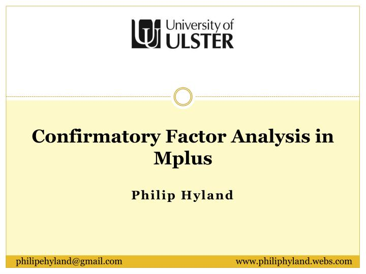 confirmatory factor analysis in mplus n.