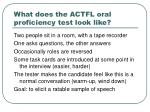 what does the actfl oral proficiency test look like