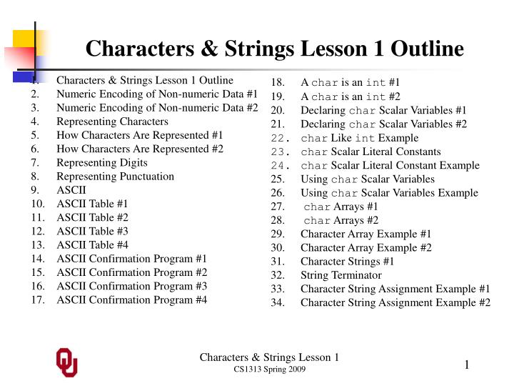 characters strings lesson 1 outline n.