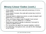 binary linear codes cont2