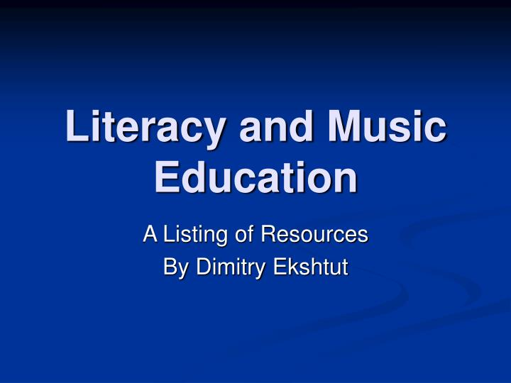 literacy and music education n.