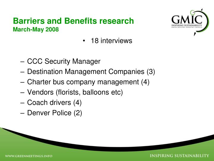 Barriers and Benefits research