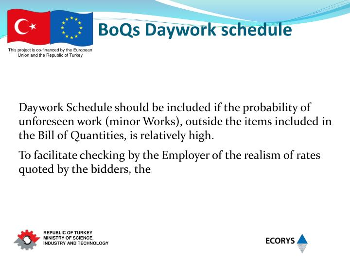 BoQs Daywork schedule