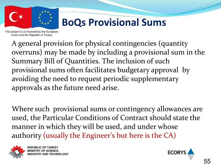 BoQs Provisional Sums