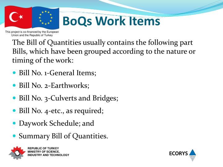 BoQs Work Items