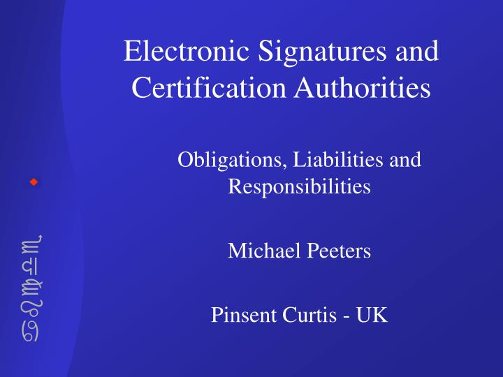 electronic signatures and certification authorities n.