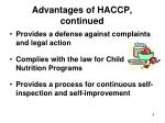 advantages of haccp continued