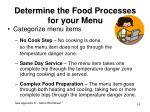 determine the food processes for your menu