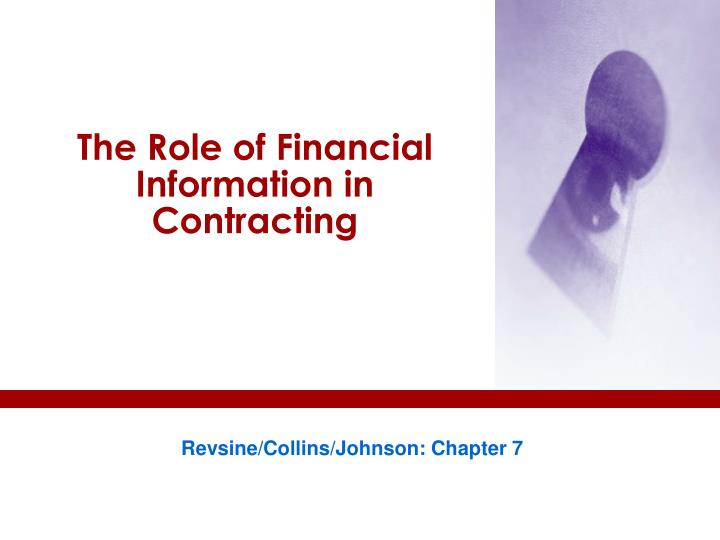the role of financial information in contracting n.