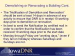demolishing or renovating a building cont1