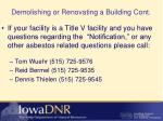 demolishing or renovating a building cont3
