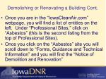 demolishing or renovating a building cont5