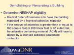demolishing or renovating a building