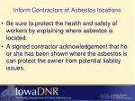 inform contractors of asbestos locations