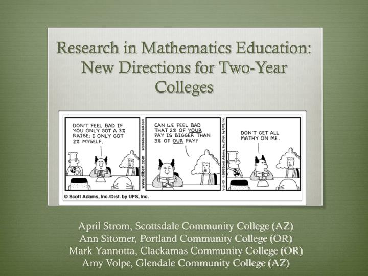 research in mathematics education new directions for two year colleges n.