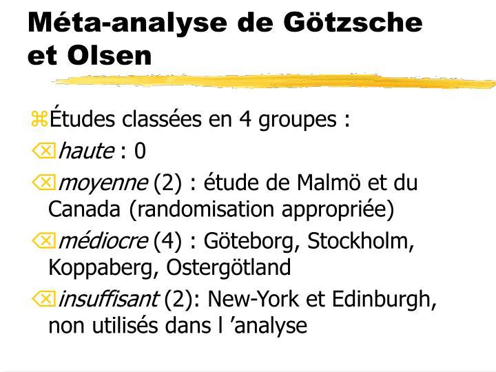Méta-analyse de Götzsche et Olsen