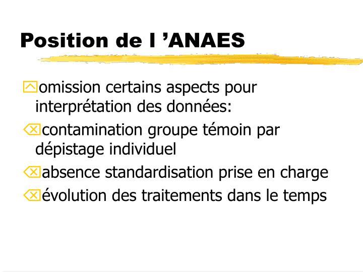 Position de l'ANAES