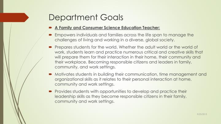 Department Goals