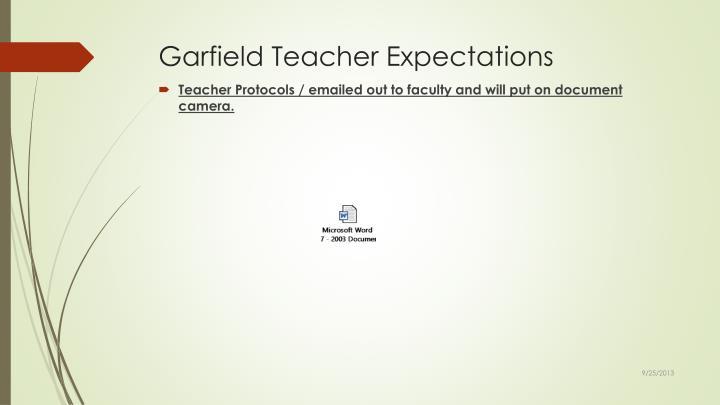 Garfield Teacher Expectations