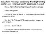 long term planning leadership training planning conference whenever youth leaders are changed1