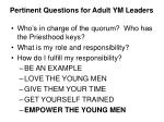 pertinent questions for adult ym leaders