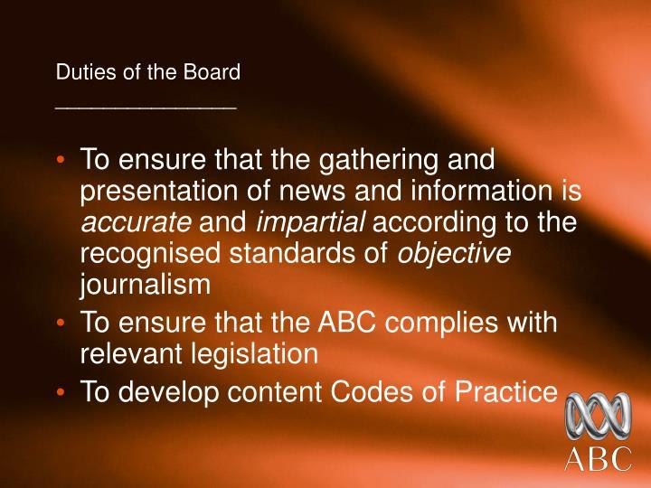 Duties of the Board
