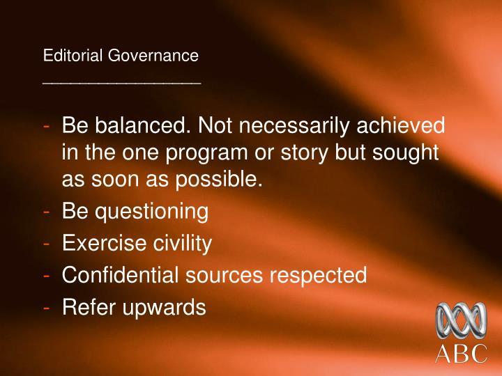 Editorial Governance