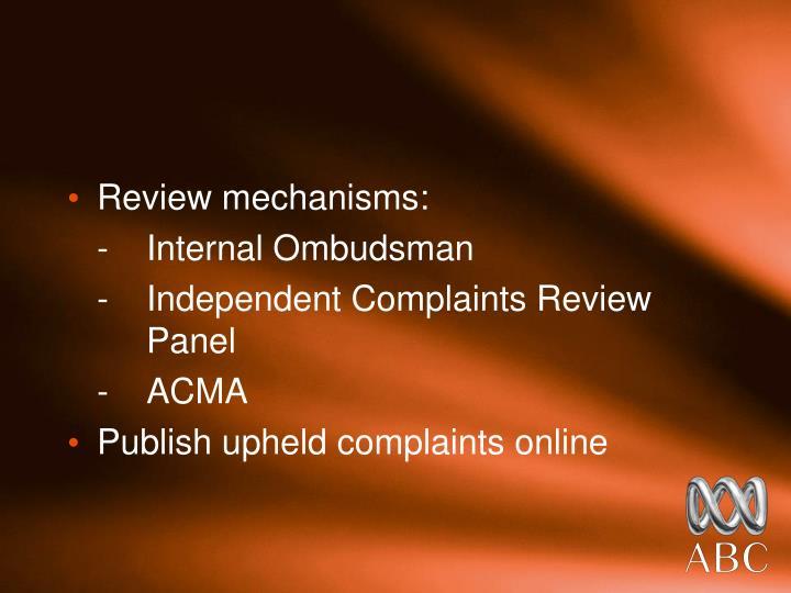 Review mechanisms: