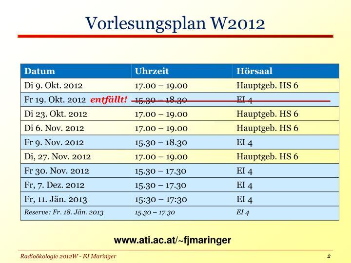 Vorlesungsplan w2012