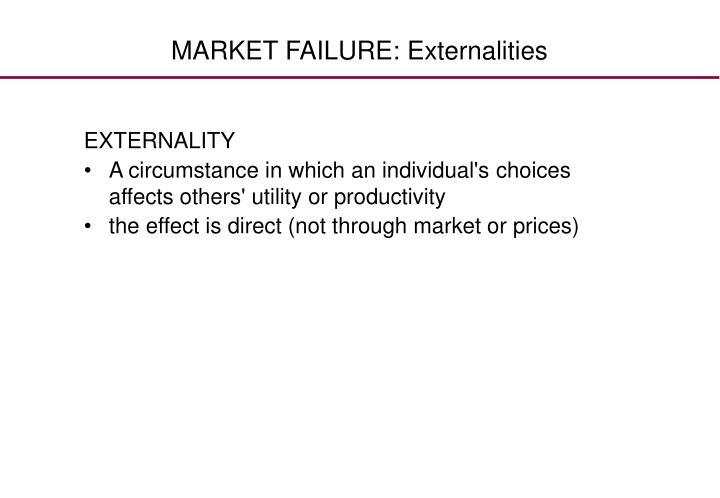 MARKET FAILURE: Externalities