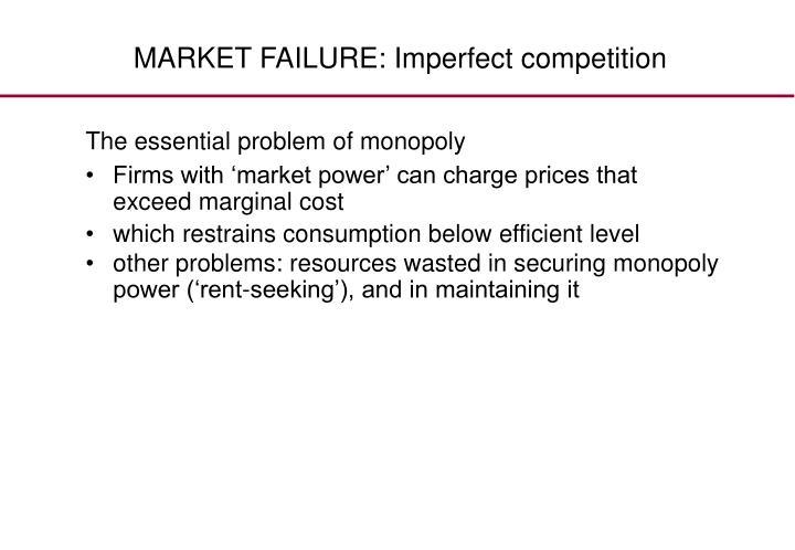 MARKET FAILURE: Imperfect competition