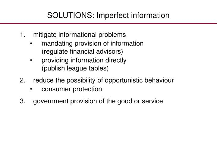SOLUTIONS: Imperfect information