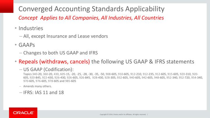 Converged Accounting Standards Applicability