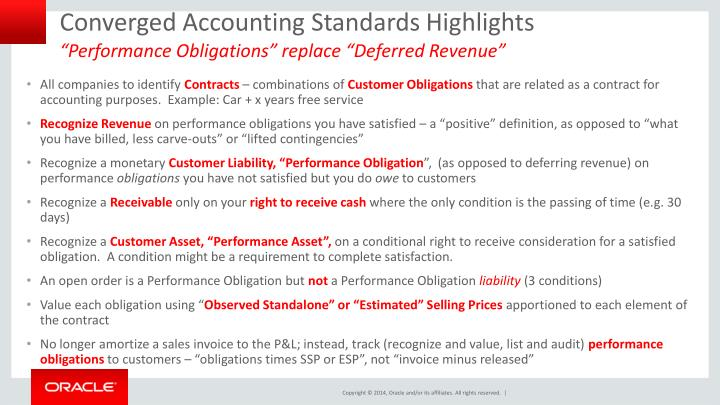 Converged Accounting Standards Highlights