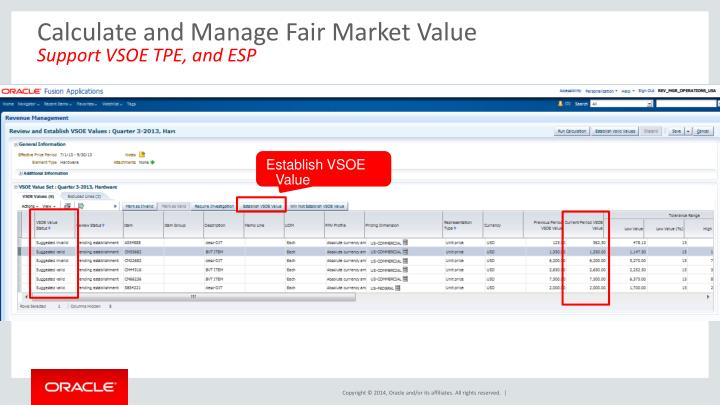 Calculate and Manage Fair Market Value
