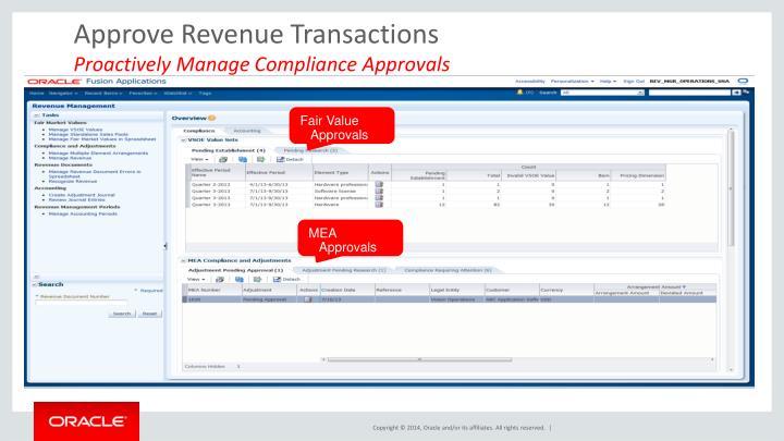 Approve Revenue Transactions