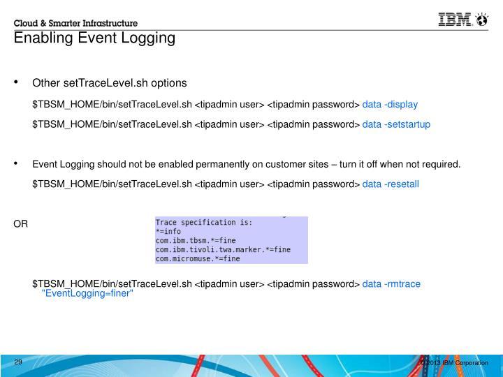 Enabling Event Logging
