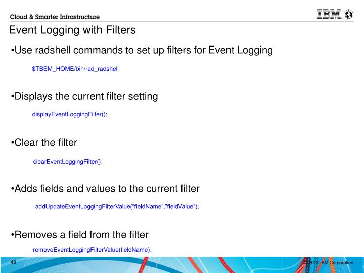 Use radshell commands to set up filters for Event Logging