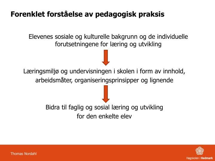 Forenklet forst else av pedagogisk praksis