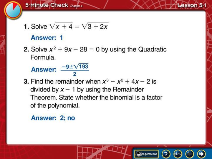 5 minute check lesson 5 1a