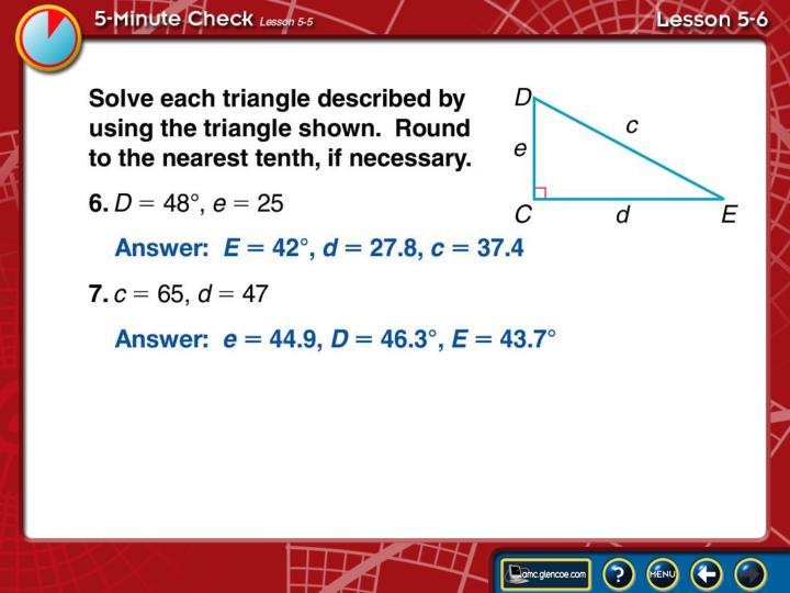 5-Minute Check Lesson 5-6C