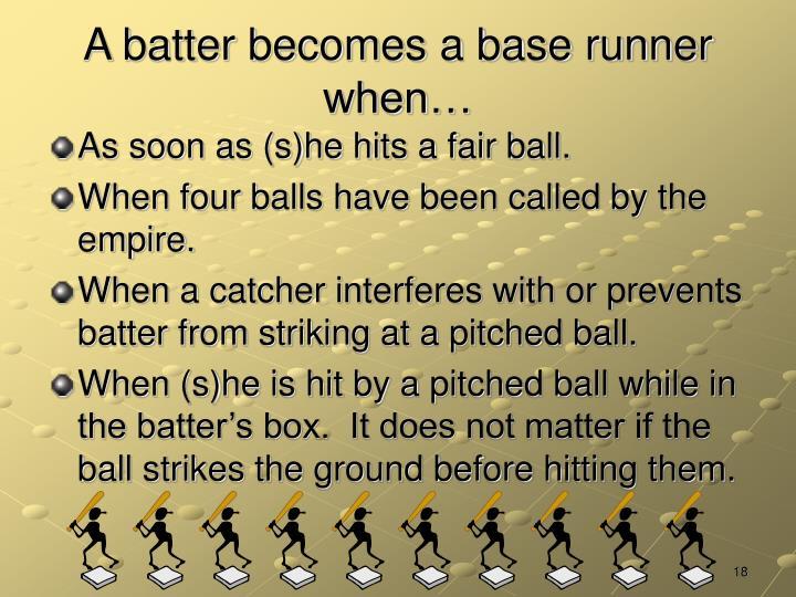 A batter becomes a base runner when…