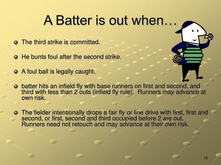 A Batter is out when…